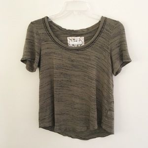 Pure + Good | Olive Green Heathered Knit Top